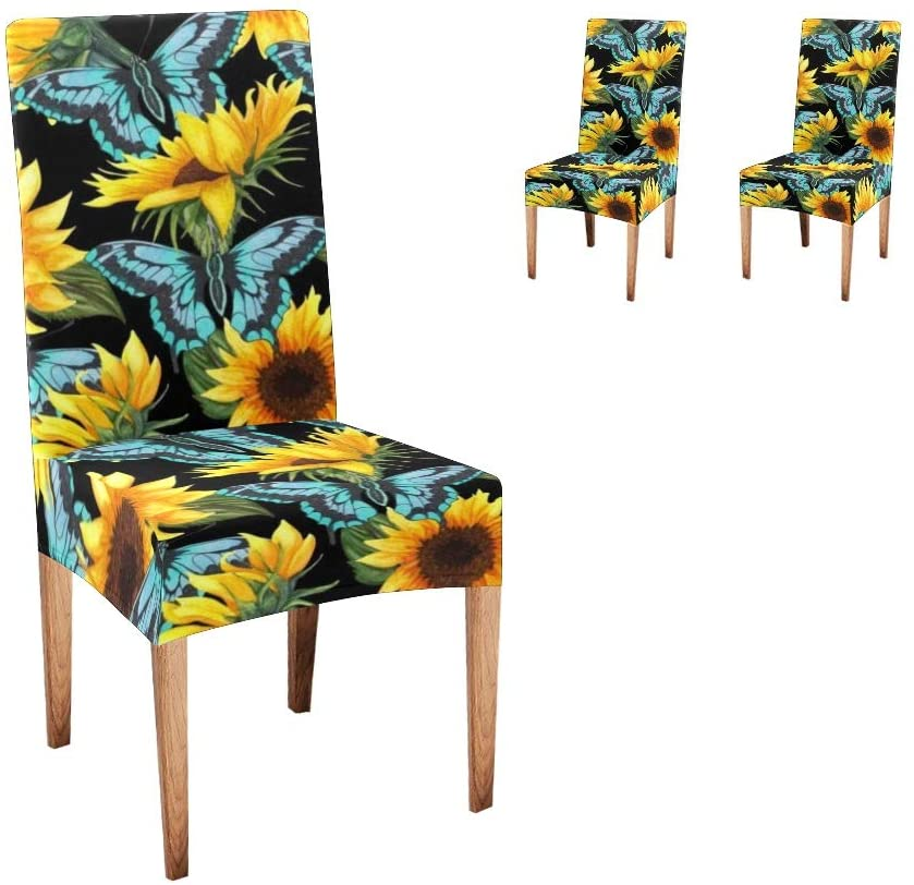 CUXWEOT Chair Covers for Dining Room Sunflower Blue Butterflies Watercolor Seat Covers Slipcovers for Party Decor (Set of 2)
