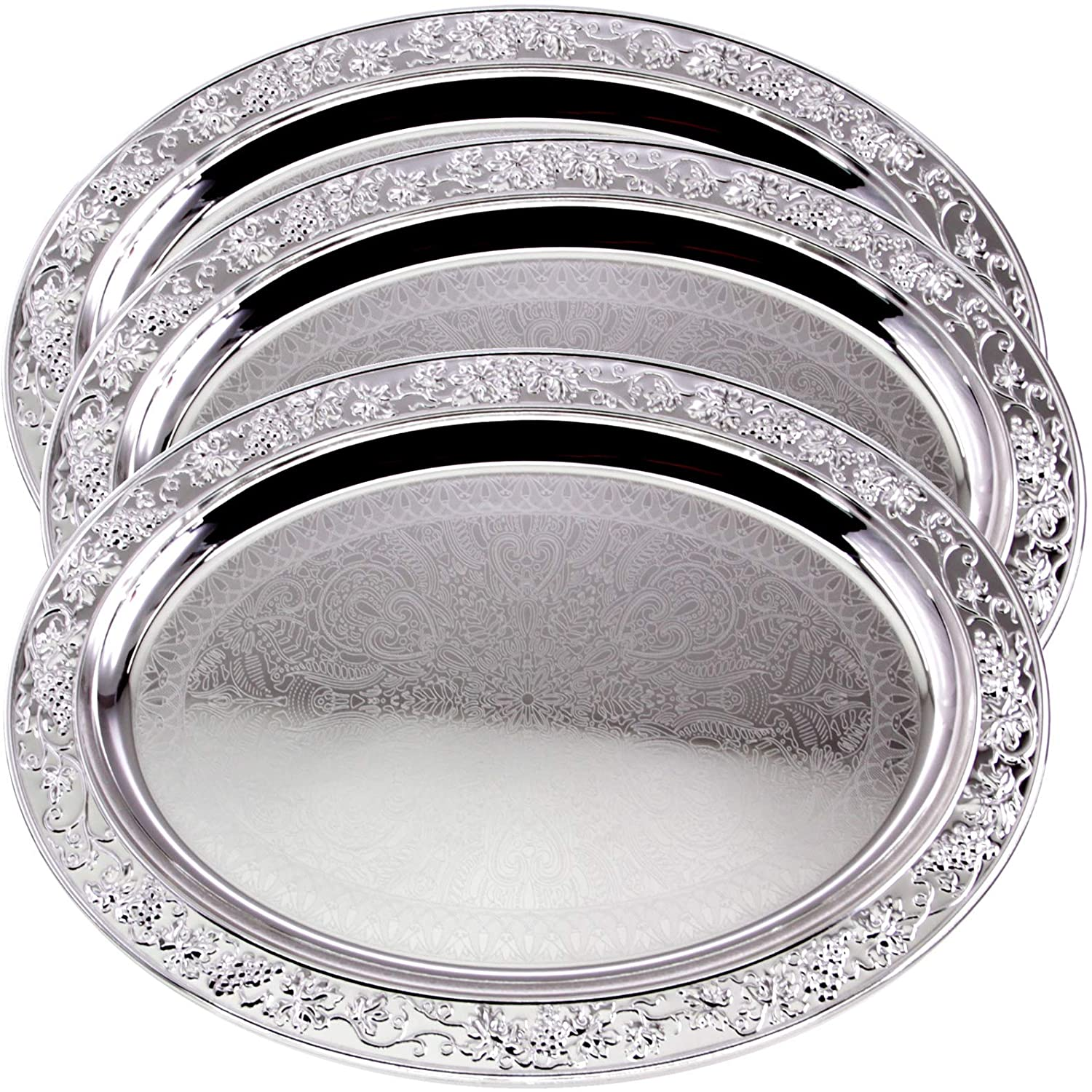 Maro Megastore (Pack of 3 20.2 inch x 14.8 inch Oval Chrome Plated Serving Tray Stylish Design Floral Engraved Edge Decorative Party Birthday Wedding Dessert Buffet Wine Platter Plate TLA-323
