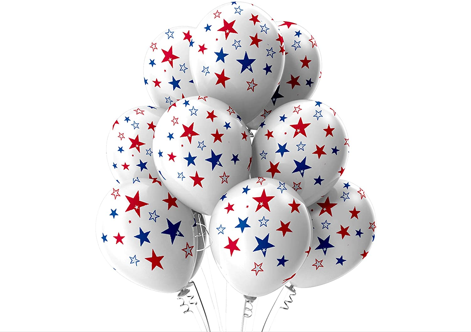 Large Latex Party Balloons Smiley Face Balloons, Star Balloons, Race Track Checker Balloon Packs, Heavy Duty, High Quality Commercial Grade (Stars)