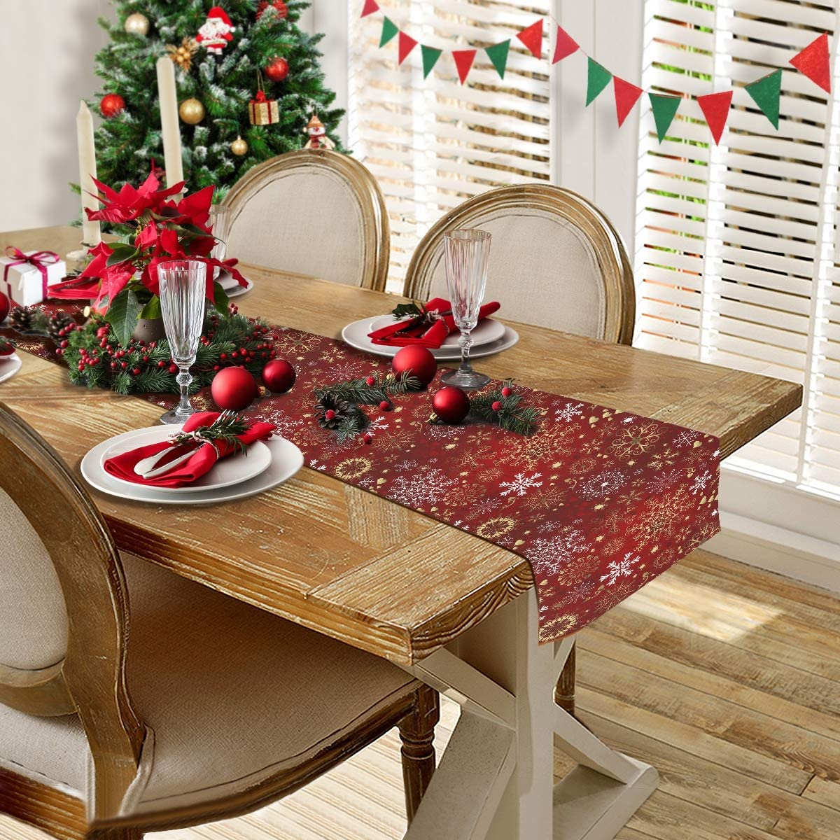 CaTaKu Merry Christmas Xmas Table Runner for Dinner Table Book Table 90 x 13 Inches Double Side Print for Party or Any Festival.