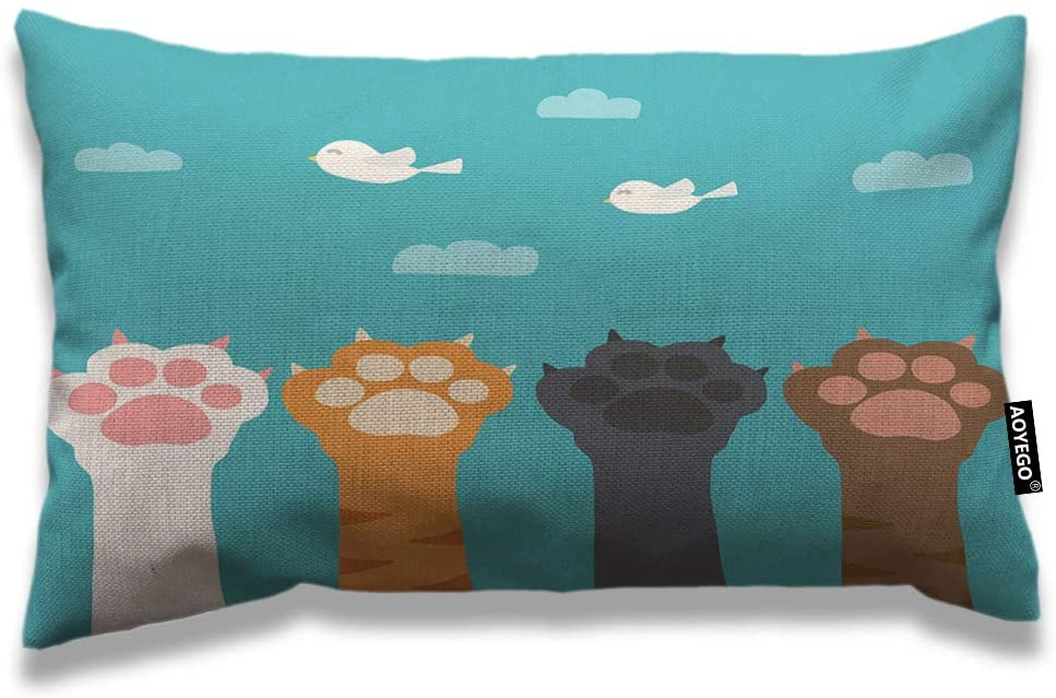 AOYEGO Cat Paw Throw Pillow Cover 12x20 Inch Cartoon Animal Kitten Bird Sky Cloud Toe Rectangle Pillow Cases Home Decorative Cotton Linen Cushion Cover for Bed Sofa
