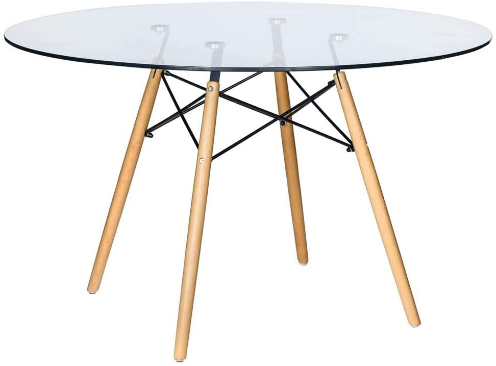 LeisureMod Dover Round Dining Table in Clear Glass