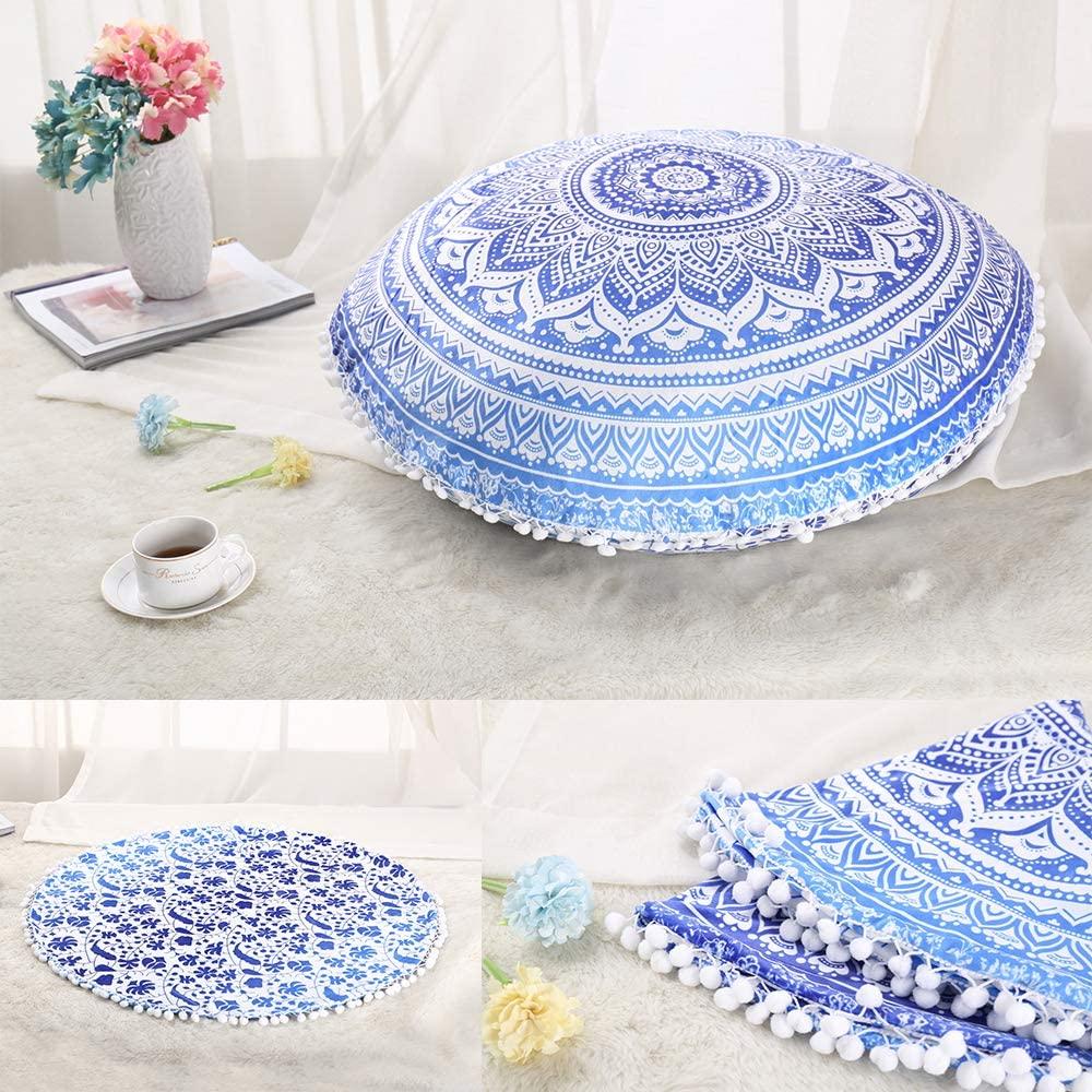 TIAQUN Large Mandala Floor Pillow,Mandala Floor Pillow Cushion Cover Meditation Seating Throw Cover Hippie Bohemian Round Pepasan Cushion Cover (Blue, L 29.5