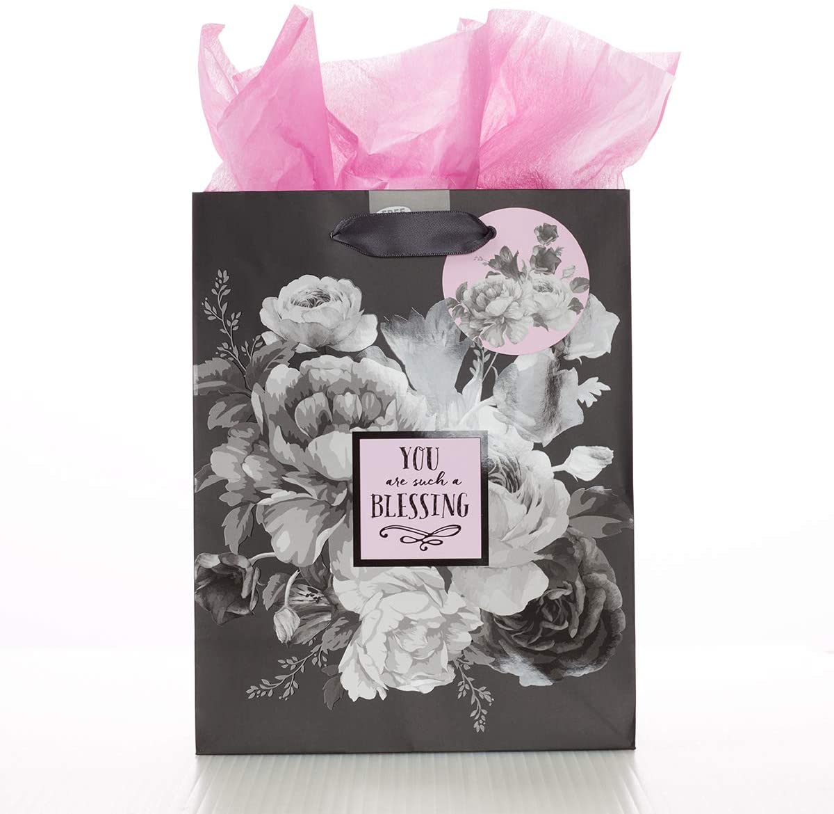 Christian Art Gifts Pink/Black Gift Bag Set | You are Such A Blessing Floral Medium Gift Bag with Tissue Paper for Women