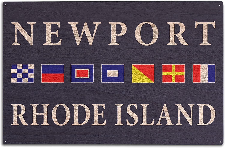 Lantern Press Newport, Rhode Island - Nautical Flags (10x15 Wood Wall Sign, Wall Decor Ready to Hang)