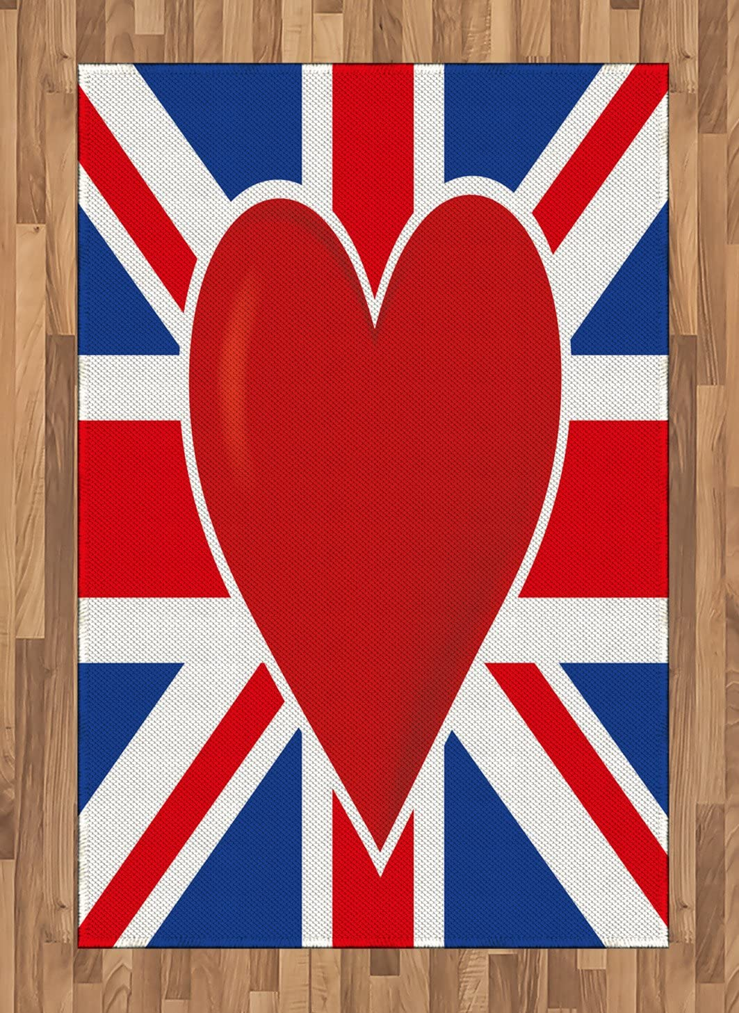 Ambesonne Union Jack Area Rug, British Flag with a Big Red Heart in Center Nationality Pride Concept, Flat Woven Accent Rug for Living Room Bedroom Dining Room, 4' X 5.7', Royal Blue Red White