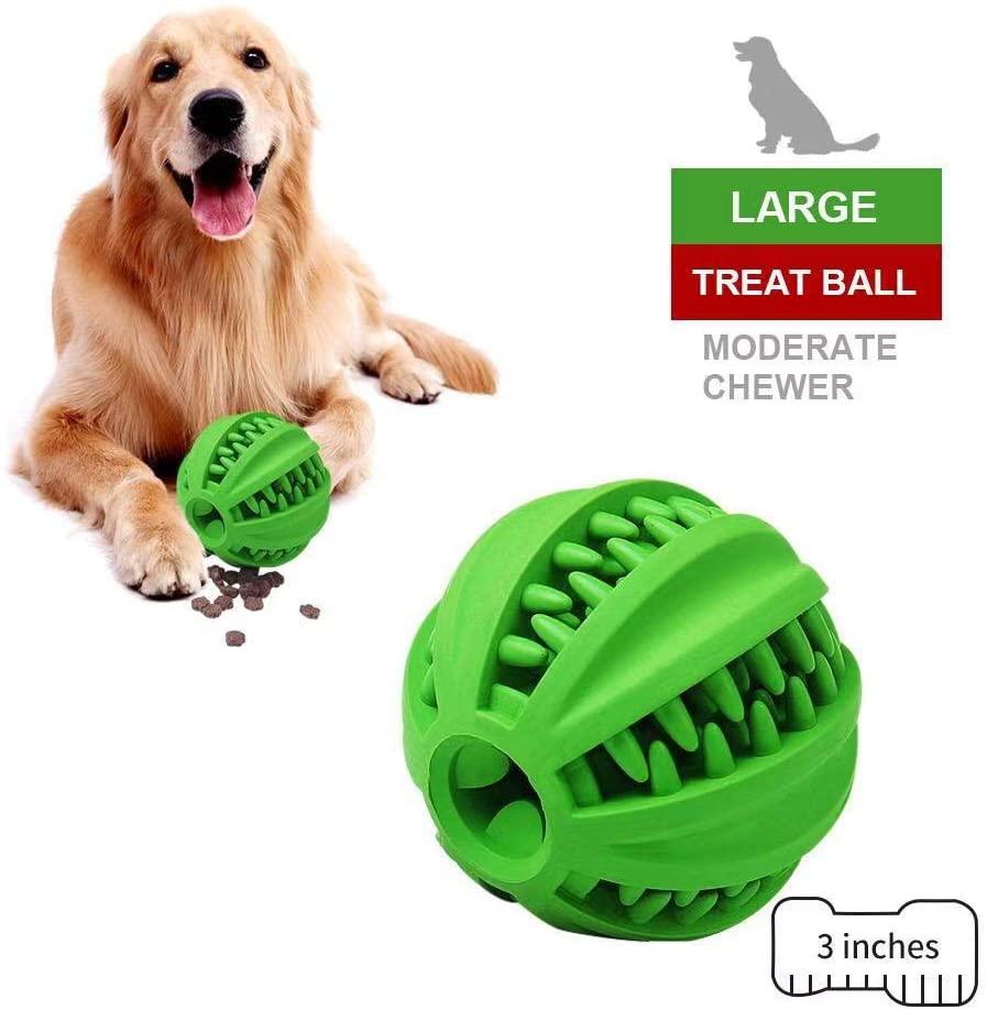 EETOYS IQ Dog Treat Ball – Interactive Treat Dispensing Dog Toy Rubber Dog Ball Slow Feeding Food Dispensing Dog Toy Reduce Boredom Teething Toy for Mini Small Medium Dogs