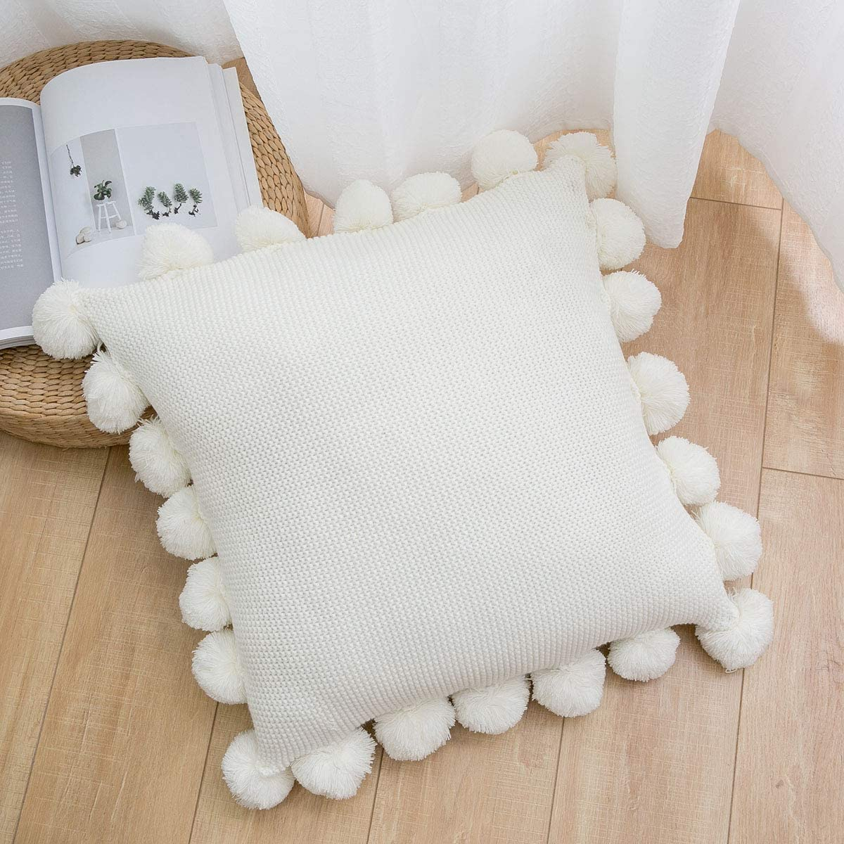 """famibay Knitted Pillow Covers with Pompoms Fringe Striped Cable Knitted Throw Pillow Cases Decorative Pillow Cushion Cover Set for Home Sofa Couch Bed 18"""" x 18"""" Cream"""