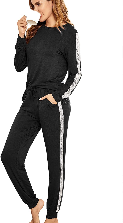 Hotouch Women's Pj Set Two Piece Pajamas Long Sleeve Tops with Long Sleep Pants Lace Trim Sleepwear Soft Loungewear(S-XXL)