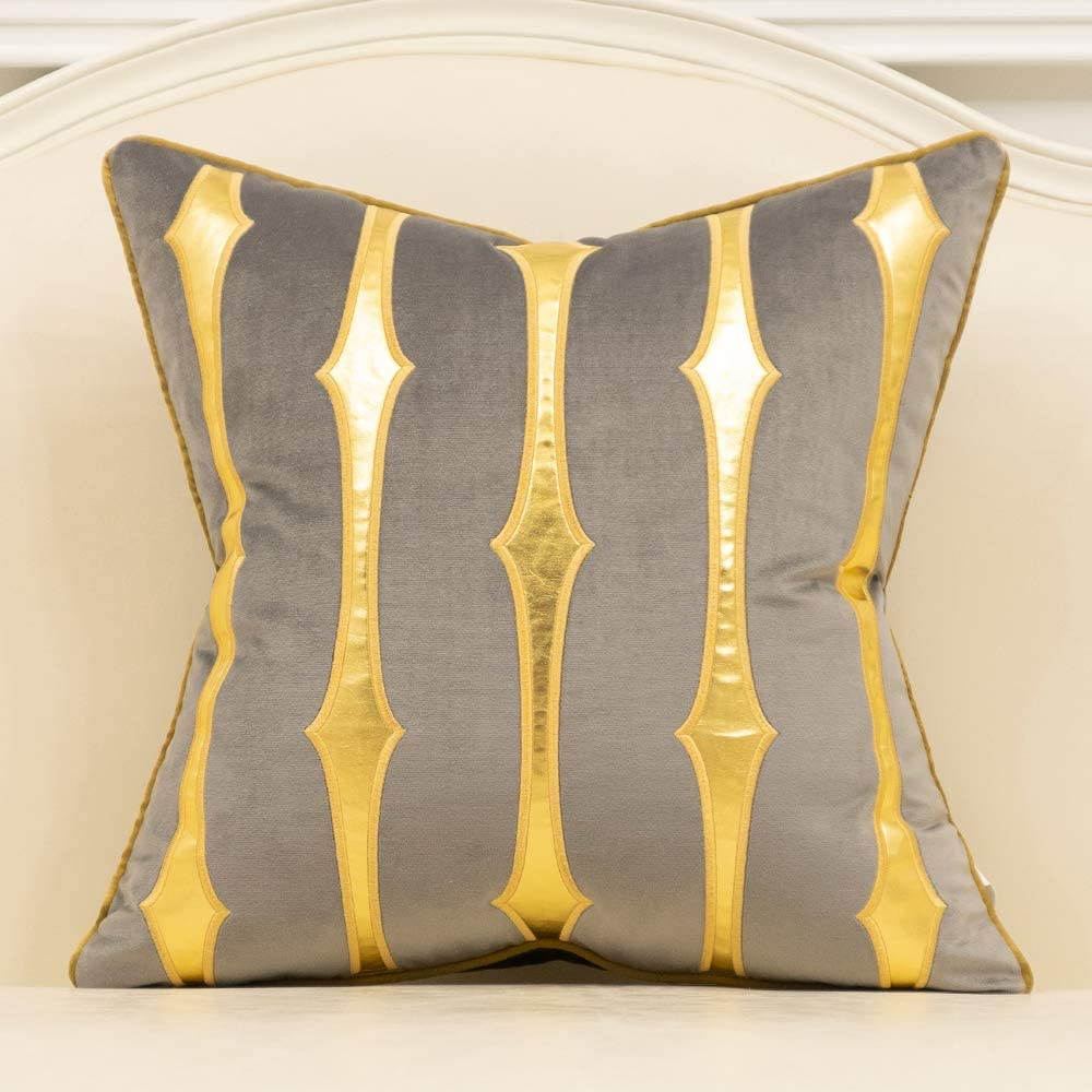 Avigers 18 x 18 Inches Grey Gold Striped Leather Cushion Case Luxury Modern Throw Pillow Cover Decorative Pillow for Couch Living Room Bedroom Car
