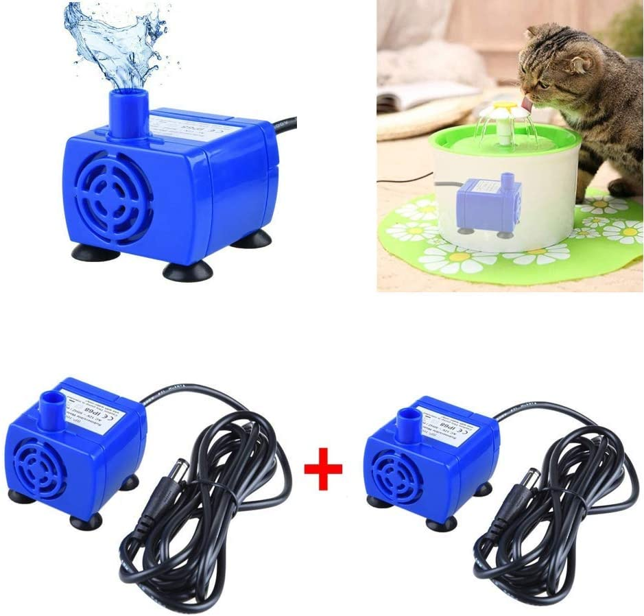 Panker 2 Pack Cat Fountain Pump Replacement, AC Power Adapter Not Included, Ultra-Quiet Cat Water Fountain Pump with 6 Feet Power Cord, Work for Veken 84 oz/2.5 L & isYoung 54 oz Cat Fountains etc