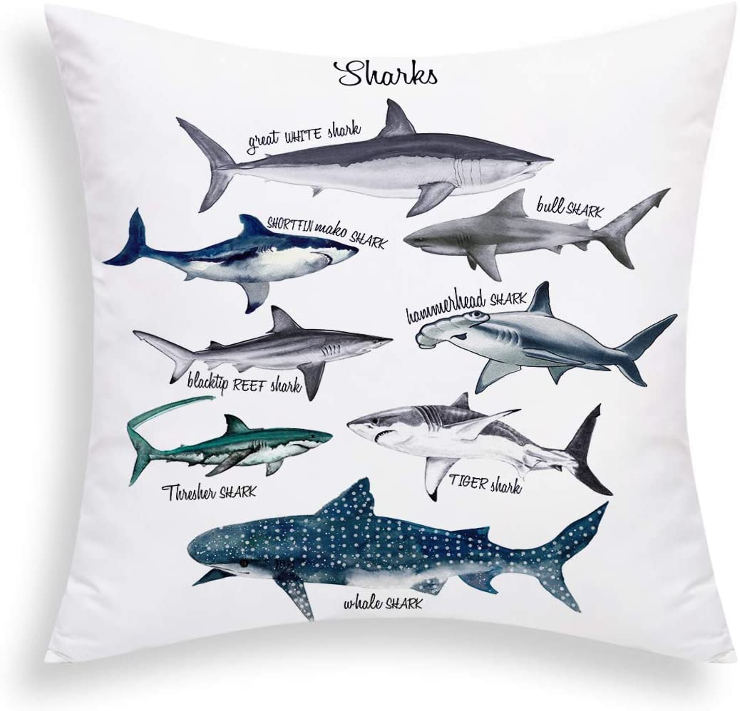 Yastouay Sharks Pillow Cover Sealife Throw Pillow Cover Marine Theme Decorative Cushion Cover 18 X 18 Inch for Sofa Couch Bed and Car