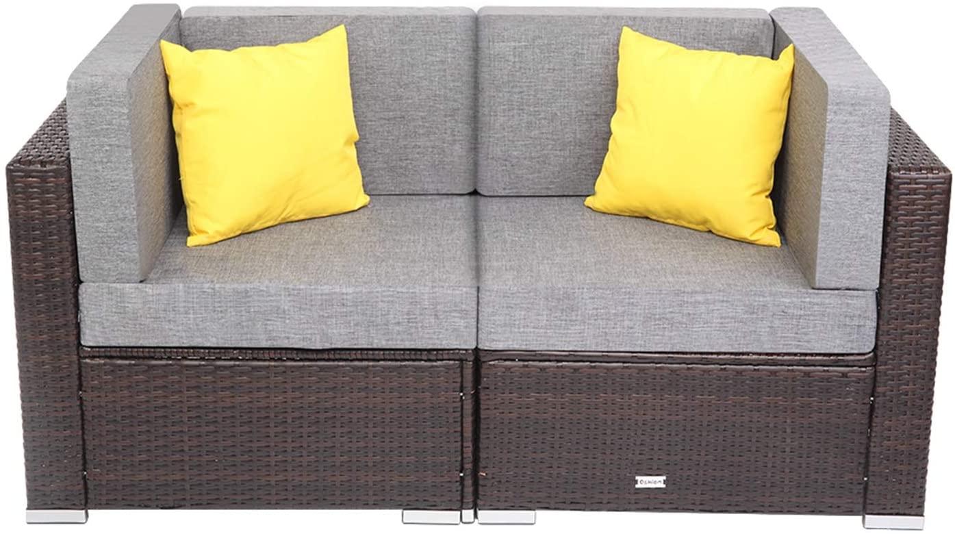2 Pieces Patio PE Wicker Rattan Corner Sofa Set