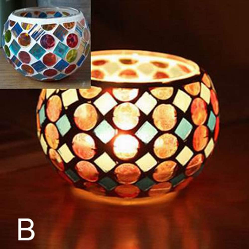 shenjin Mosaic Tea Light Glass Votive Tabletop Home Decor Candlestick Candle Holder Candle Jar(B)