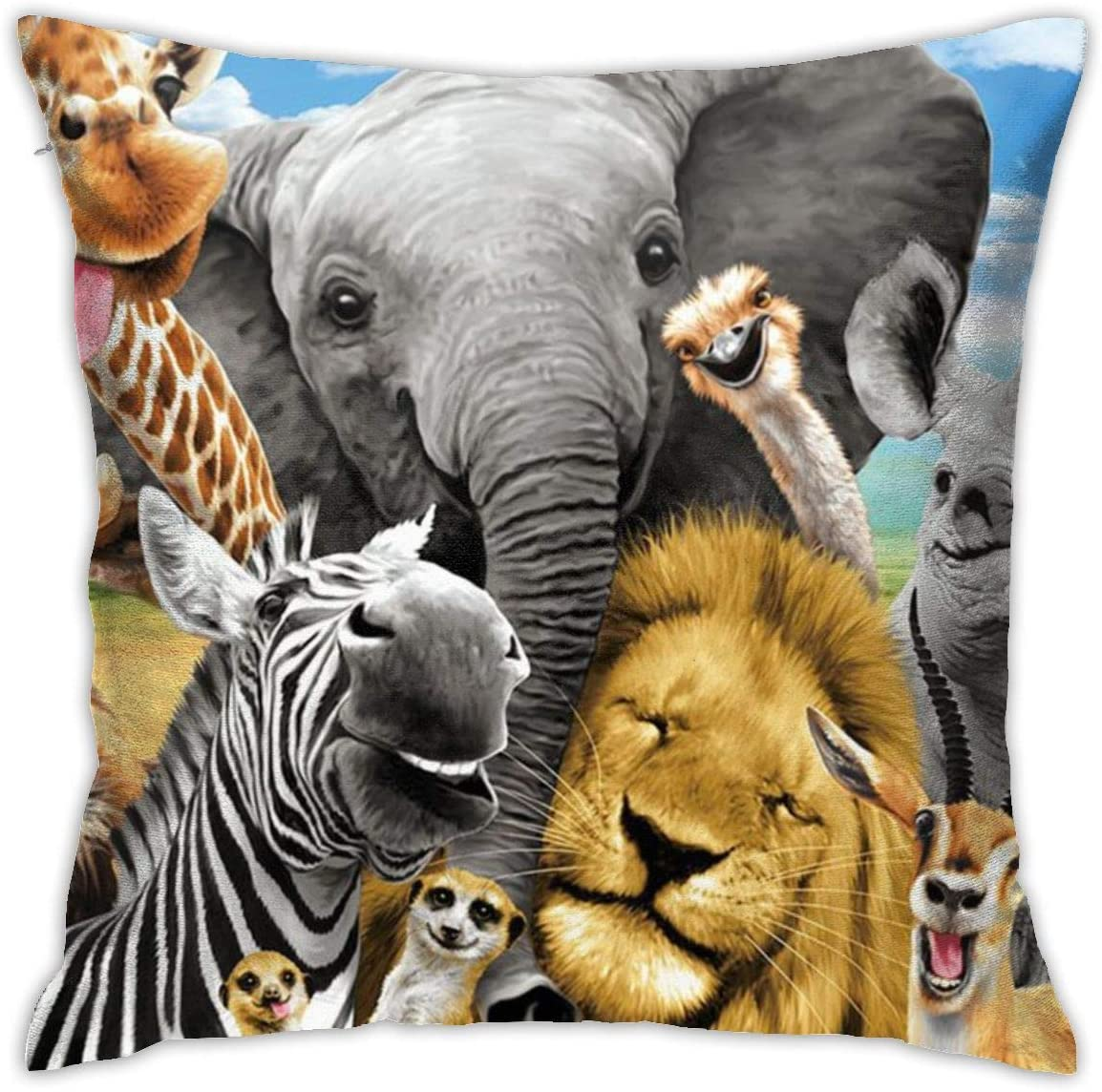 antfeagor Safari Animals Pillow Covers Decorative 18x18 in Daily Sofa Throw Pillow Case Cushion Covers Zippered Pillowcase
