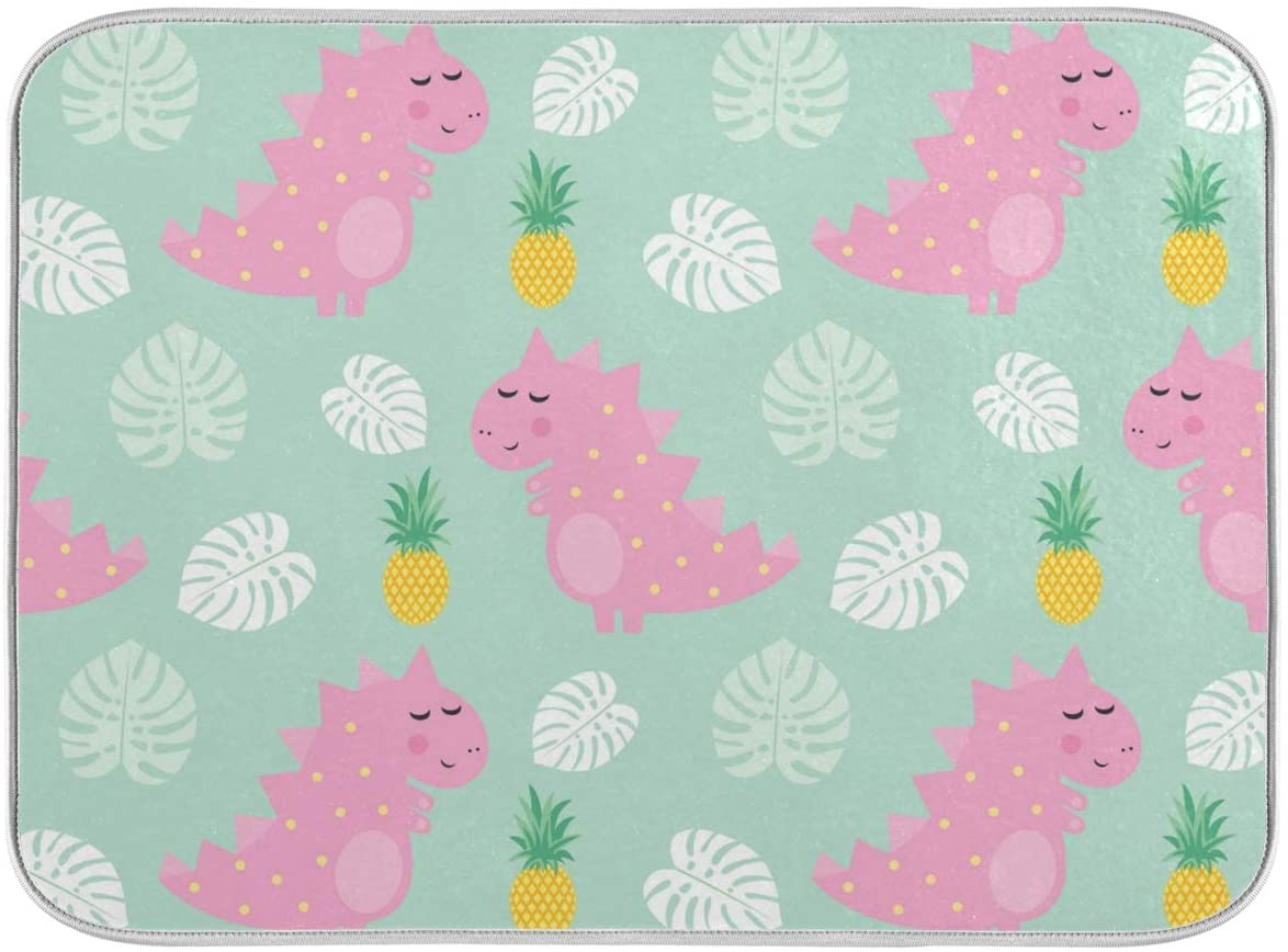Pink Dinosaur With Pineapple Dish Mat 24