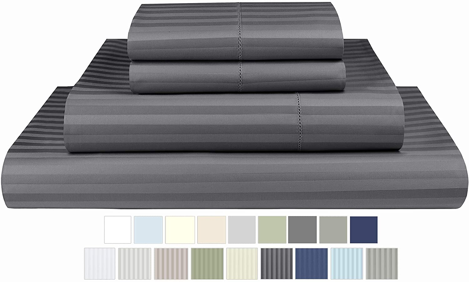 Threadmill Home Linen 600 Thread Count 100% Cotton Sheets, 1CM Damask Stripe Dark Grey California King Sheets 4 Piece Set Hemstitch, ELS Combed Cotton Bed sheets, Sateen Fits Mattress with Deep Pocket