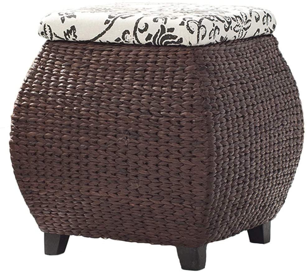 ZENGAI Footstool Home Grass Vine Hand-Braided Storage Stool Ottoman Footrest for DeskLiving Room Bedroom Dining (Color : Brown)