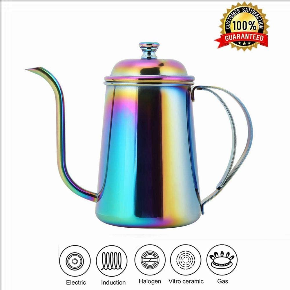Stainless Steel Tea Kettle, 650ML Gooseneck Long Mouth Kettle, Pour Over Coffee Kettle & Tea Kettle for Home Drip Coffee or Camping