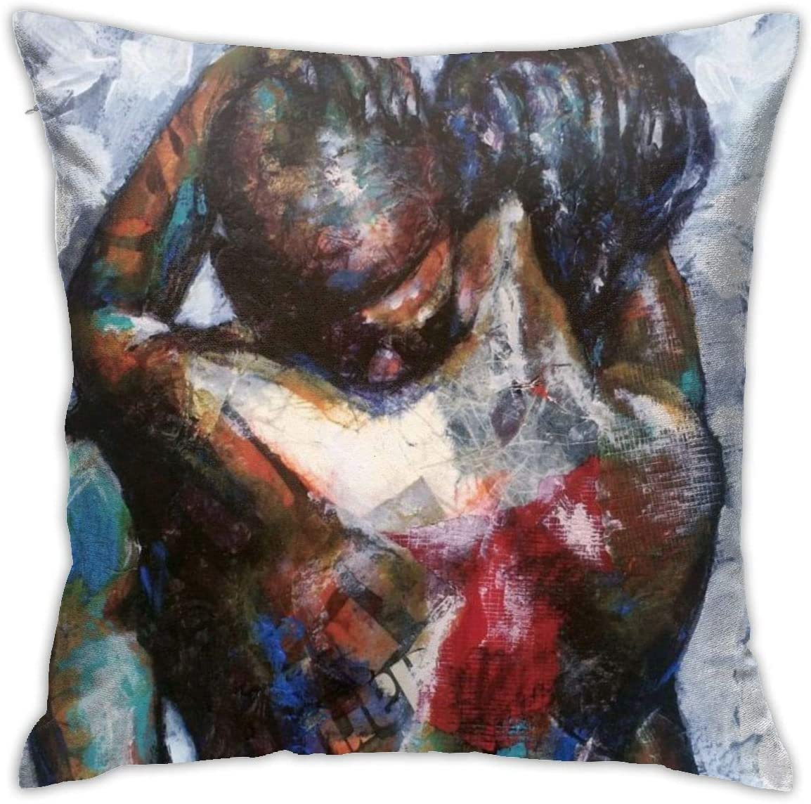 Gievszhe African Black Couple Lover Throw Pillow Covers Home Decor Zipper Cushion Pillow Case Square 18x18 Inches