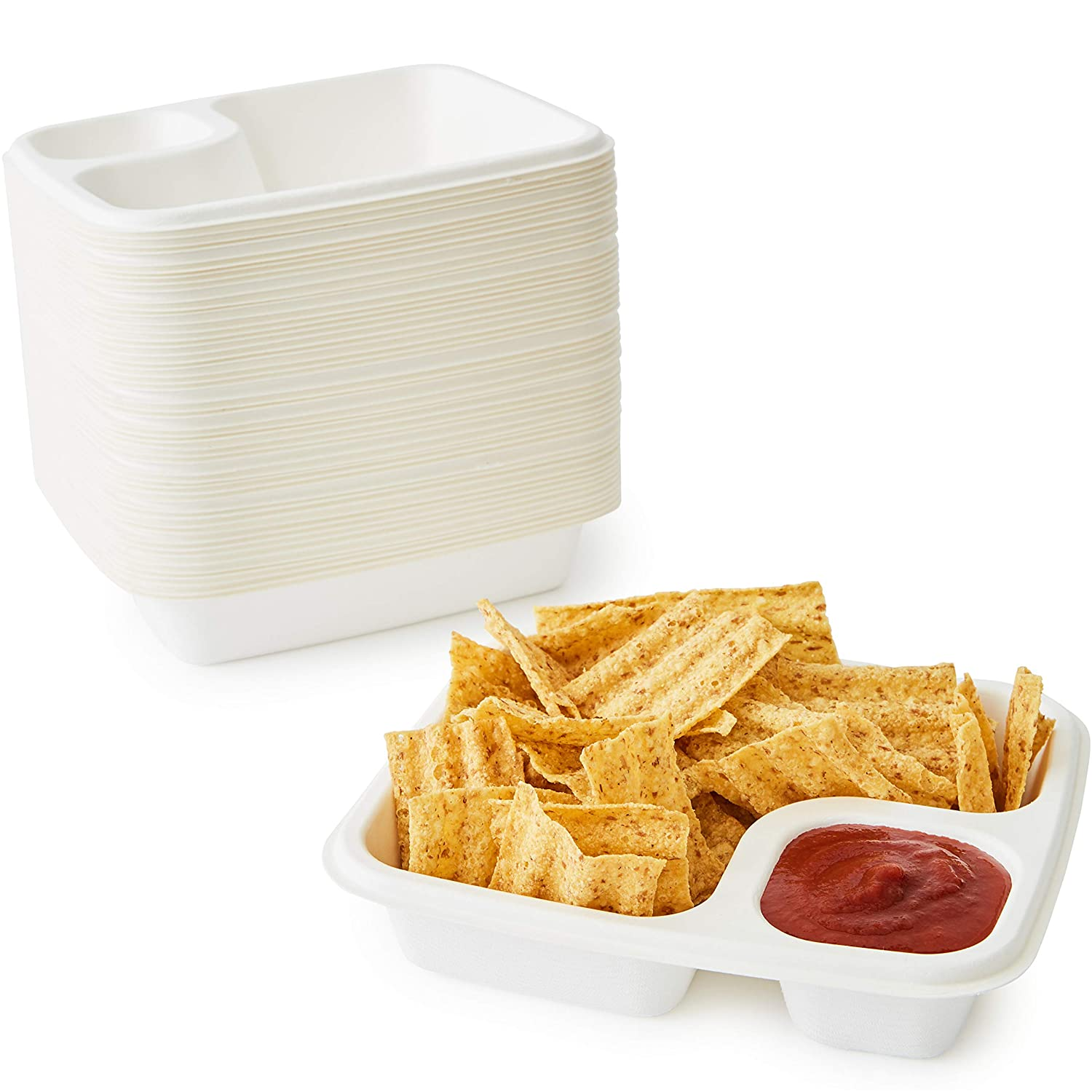 Leak Proof, Compostable Bagasse Nacho Trays 50 Pack. Large, 2 Compartment Serving Tray is Biodegradable and Microwave Safe. Heavy Duty, Divided Holder for Snacks, Nachos and Cheese or Chips and Salsa
