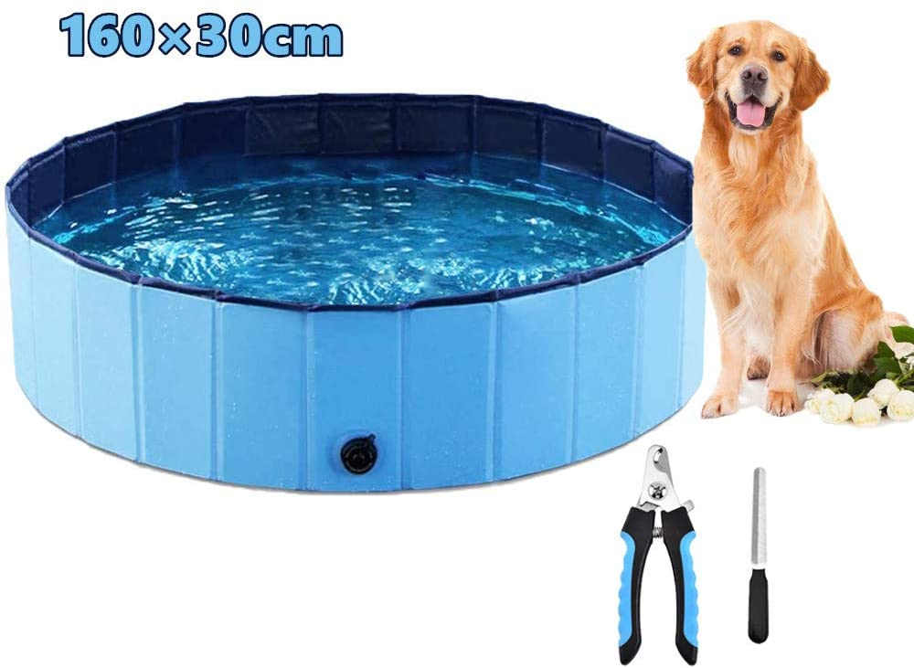 Smyer Foldable Pet Dog Children's Swimming Pool, Collapsible Portable PVC Pet Outdoor Bathing Tub, for Dogs,Cat,Kid Play in The Water