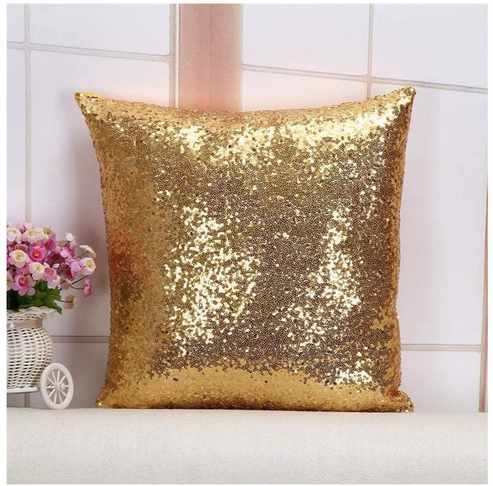 Toss Pillow Cover Best Choice 24''x24'' Light Gold Sequins Decorative Throw Pillows Case, Sequin Pillow Cover, Pillows Cushion Cover, Sofa Accent Pillow Case, Toss Pillows Covers
