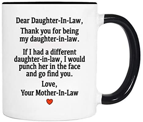 Siuwud Dear Daughter-In-Law.Love, Your Mother-In-Law - Mug - Daughter-In-Law Gift - Daughter-In-Law Mug (Black2)