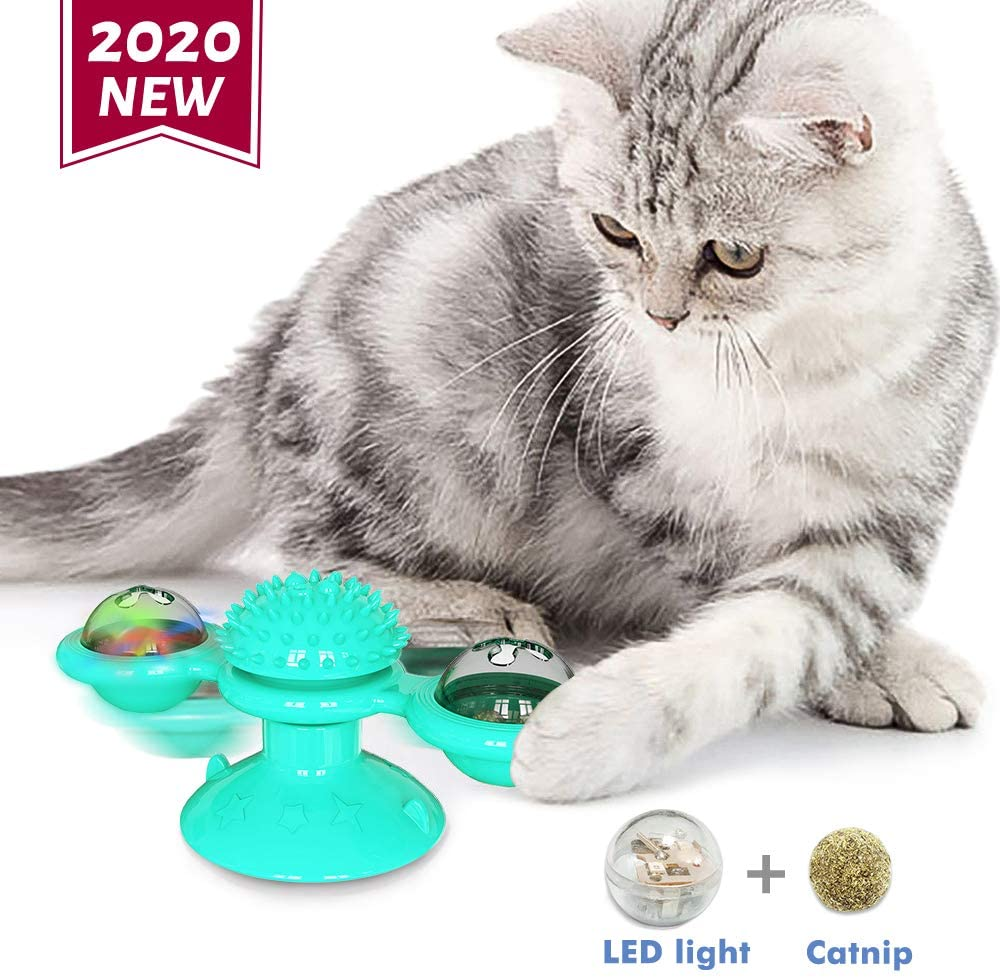 NINEMAX Cat Catnip Toy, Windmill Spinning Cat Toy with Led Ball and Catnip Ball for Indoor Cats Interactive Cat Supplies for Kitty Kitten