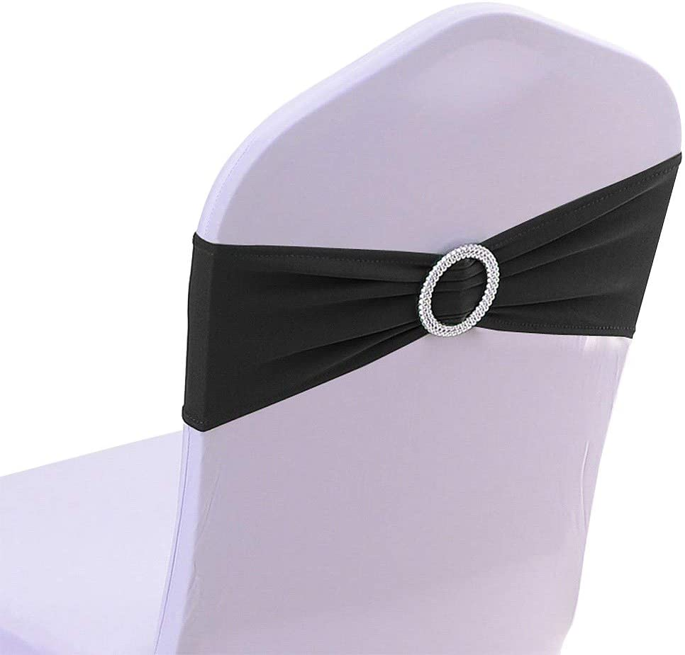 50PCS Spandex Chair Sashes Bows Elastic Chair Bands with Buckle Slider Sashes Bows for Wedding Decorations (Black)