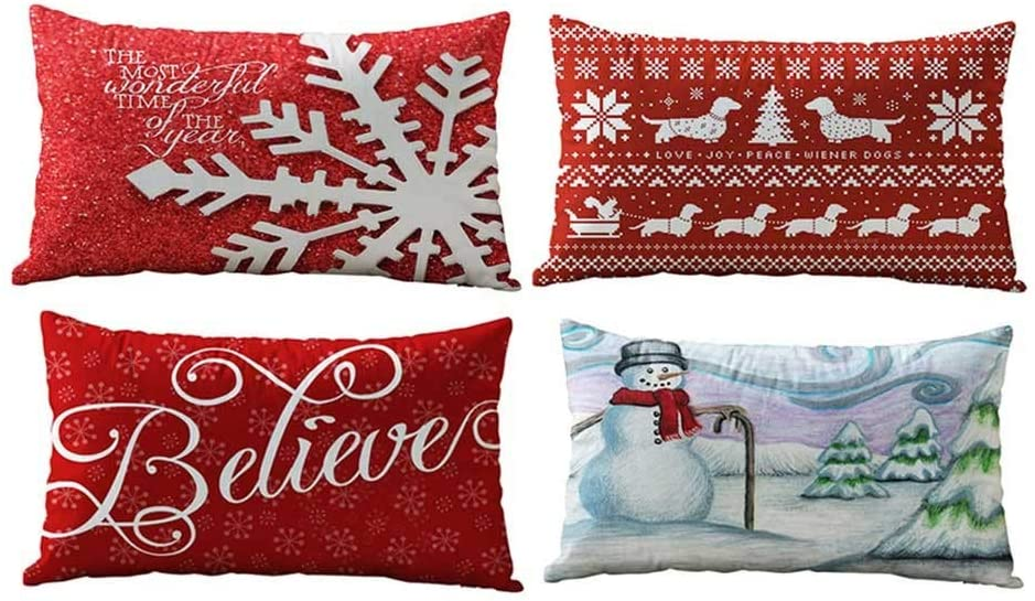 GODET Christmas Throw Pillow Covers 18x18 Set of 4 Outdoor Patio Pillowcases Cushion Home Decor Soft Cotton Linen Rectangle Outdoor Cushion Cover Pillow Case Pillowcase for Couch Sofa Bed Car