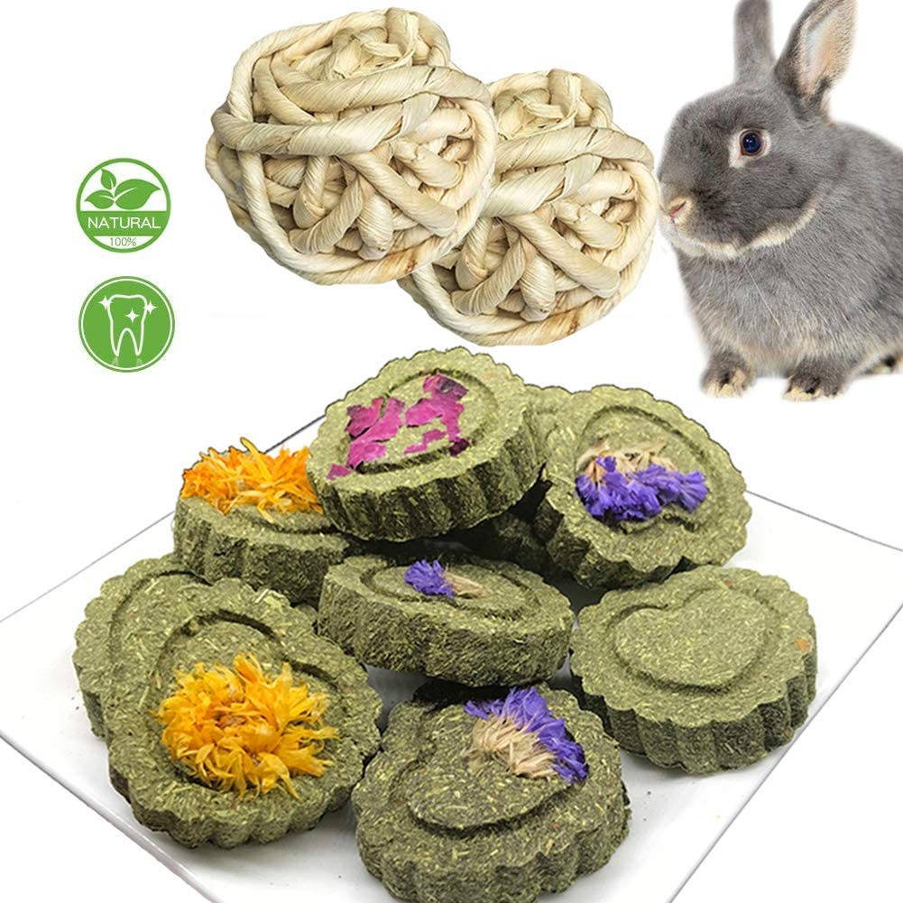 kathson Bunny Chew Toys for Teeth, Pet Treats Handmade Grass Cakes with Chewing Toys for Bunny Chinchilla Guinea Pig Hamster Squirrels(1 Bottle Grass Cake+2 Balls)