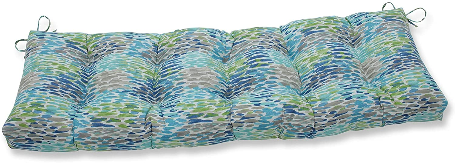 Pillow Perfect Outdoor/Indoor Make It Rain Cerulean Tufted Bench/Swing Cushion, 60