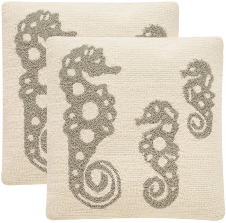 Safavieh Collection Oreas White and Tropical Grey Indoor/Outdoor Throw Pillows (20