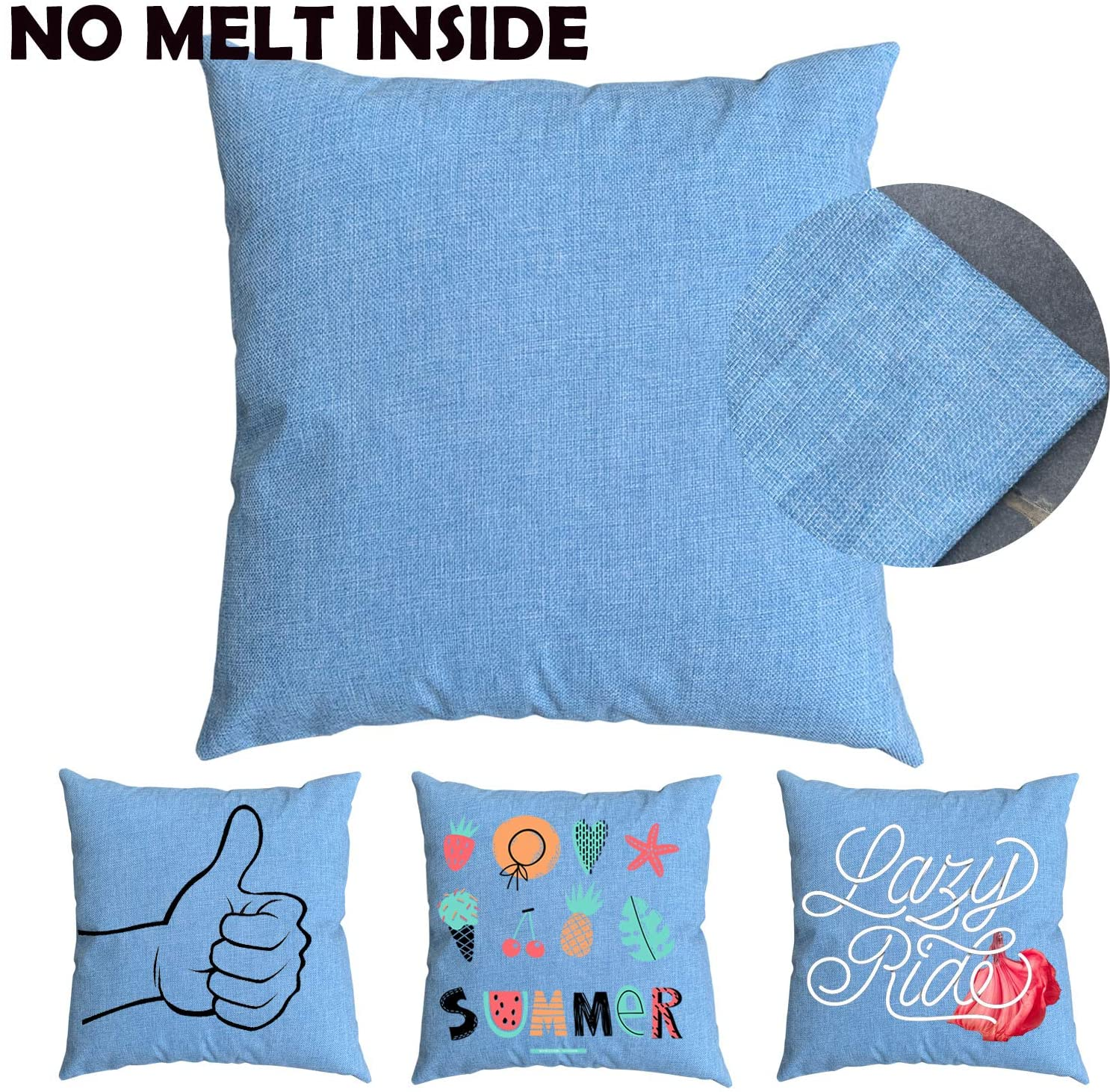JUSTRY 4 PCS Blue 16 x 16 Inch Sublimation Blanks Linen Pillow Cases Cushion Cover Throw Pillow Covers for Sublimation Printing Sofa Couch DIY Blanks Pillow Case No Insert