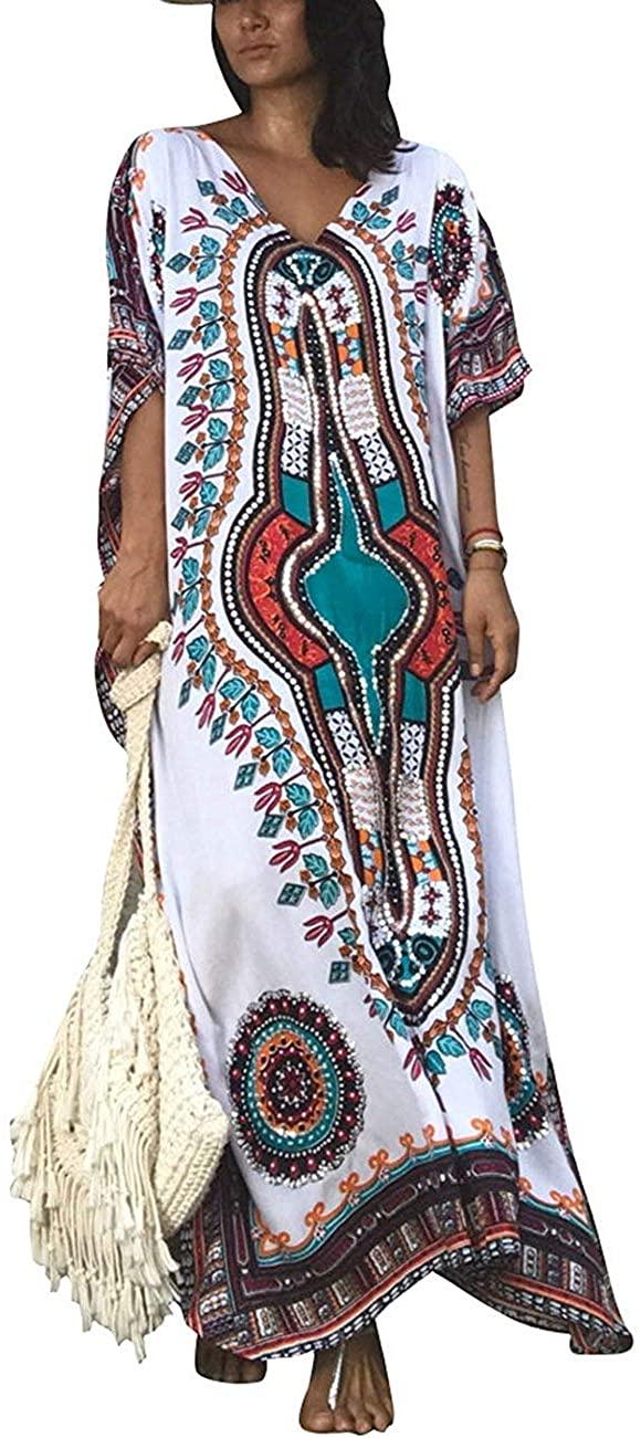 Women Maxi Cover Ups Swimwears Turkish Ethnic Print Kaftan Beach Dress Long Robe Gown (065)