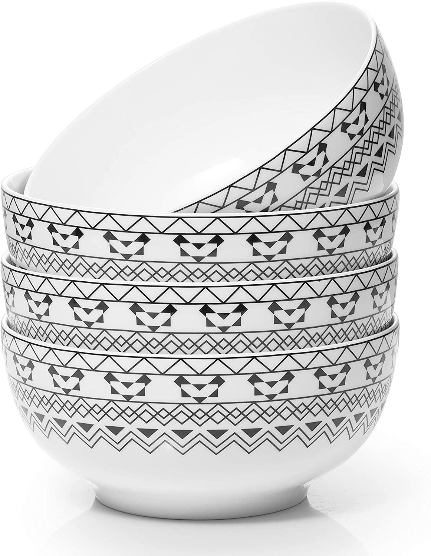 Dowan Cereal Bowls, Porcelain Soup Bowls, Lightweight Bowl, Chip Resistant, Dishwasher & Microwave Safe, Modern Bohemian Bowls for Rice Pasta Salad Oatmeal Serving, Set of 4