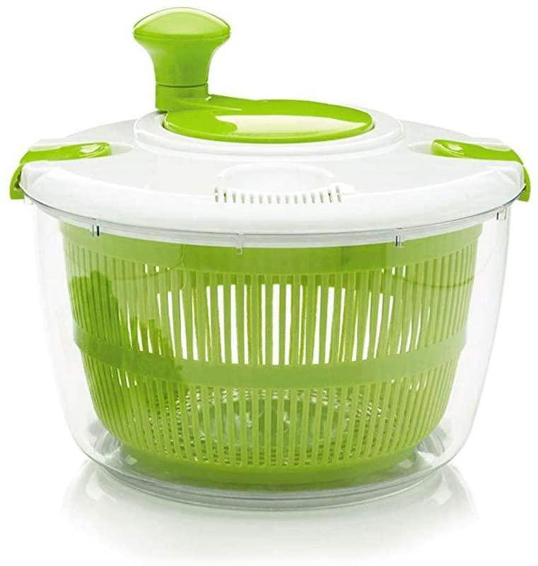 Fuoliystep Large Salad Spinner - 5L Lettuce Spinner Vegetable Washer Dryer with Large Salad Bowl and Plastic Colander, Fruit Veggie Wash & Salad Making, BPA Free
