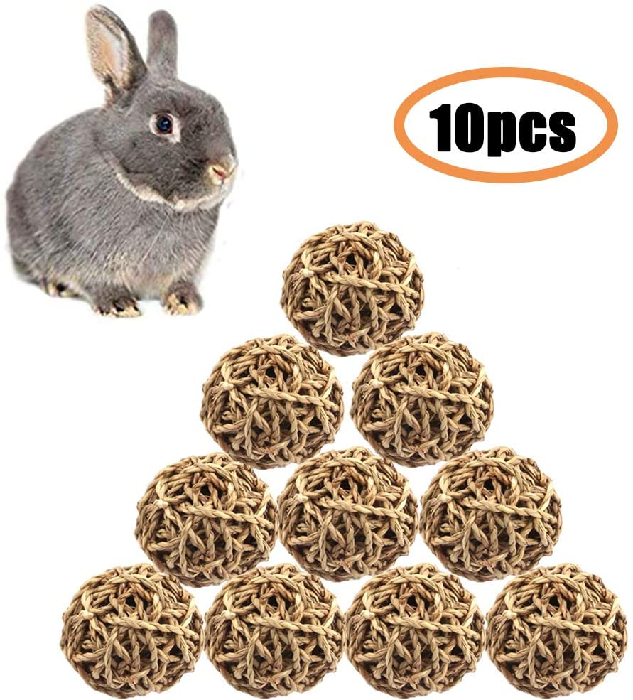 Small Animal Ball Toy, Rabbit Activity Toy, Small Animal Chew Toys Grass Ball for Hamsters Gerbils Bunny Rabbits Guinea Pigs(10 Pcs)