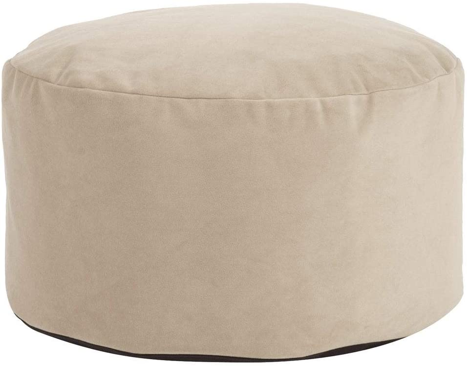 Sand Foot Pouf Ottoman Tan Taupe Solid Color Modern Contemporary Polyester Removable Cover