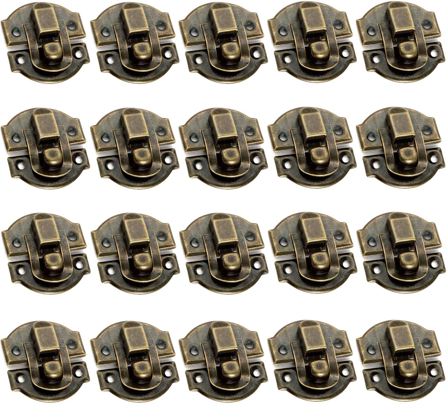 Dasunny 20 Sets Vintage Tiny Hasp Latch, Antique Style Bronze Toggle Latch Hasp Lock for Wood Box Furniture Cabinet Drawer Wardrobe, 1.2 x 1.1 Inch