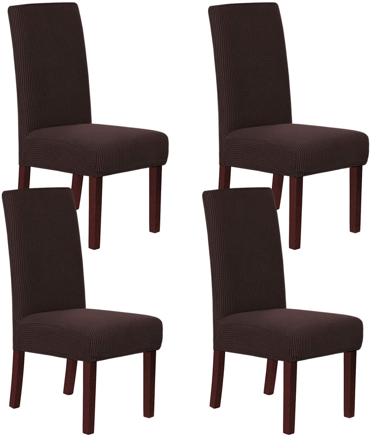 H.VERSAILTEX Stretch Dining Chair Covers Chair Covers for Dining Room Set of 4 Parson Chair Covers Slipcovers Chair Protectors Covers Dining, Feature Textured Checked Jacquard Fabric, Chocolate