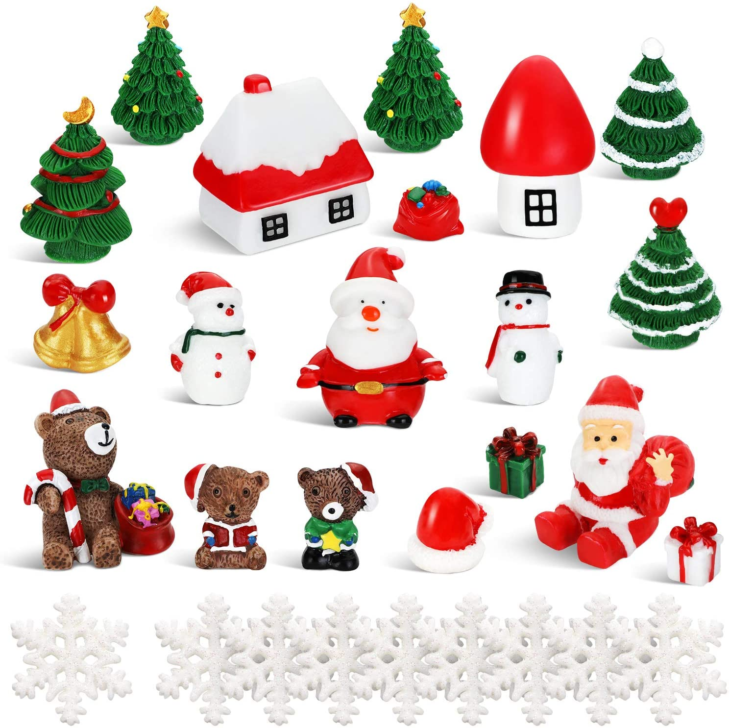 43 Pieces Christmas Miniature Ornaments Christmas Tree Snowman Small Bell Bear Hut Castle Snowflake Mini Ornaments for Christmas Party Decorations