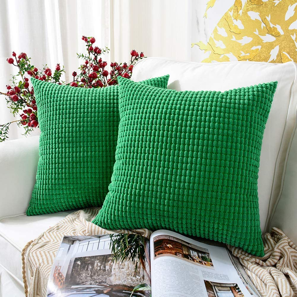 MERNETTE New Year Party/Wedding Home Decor Decorations, Corduroy Soft Decorative Square Throw Pillow Cover Cushion Covers, 18x18 Inch/45x45 cm (2 Pieces, Pine Green)