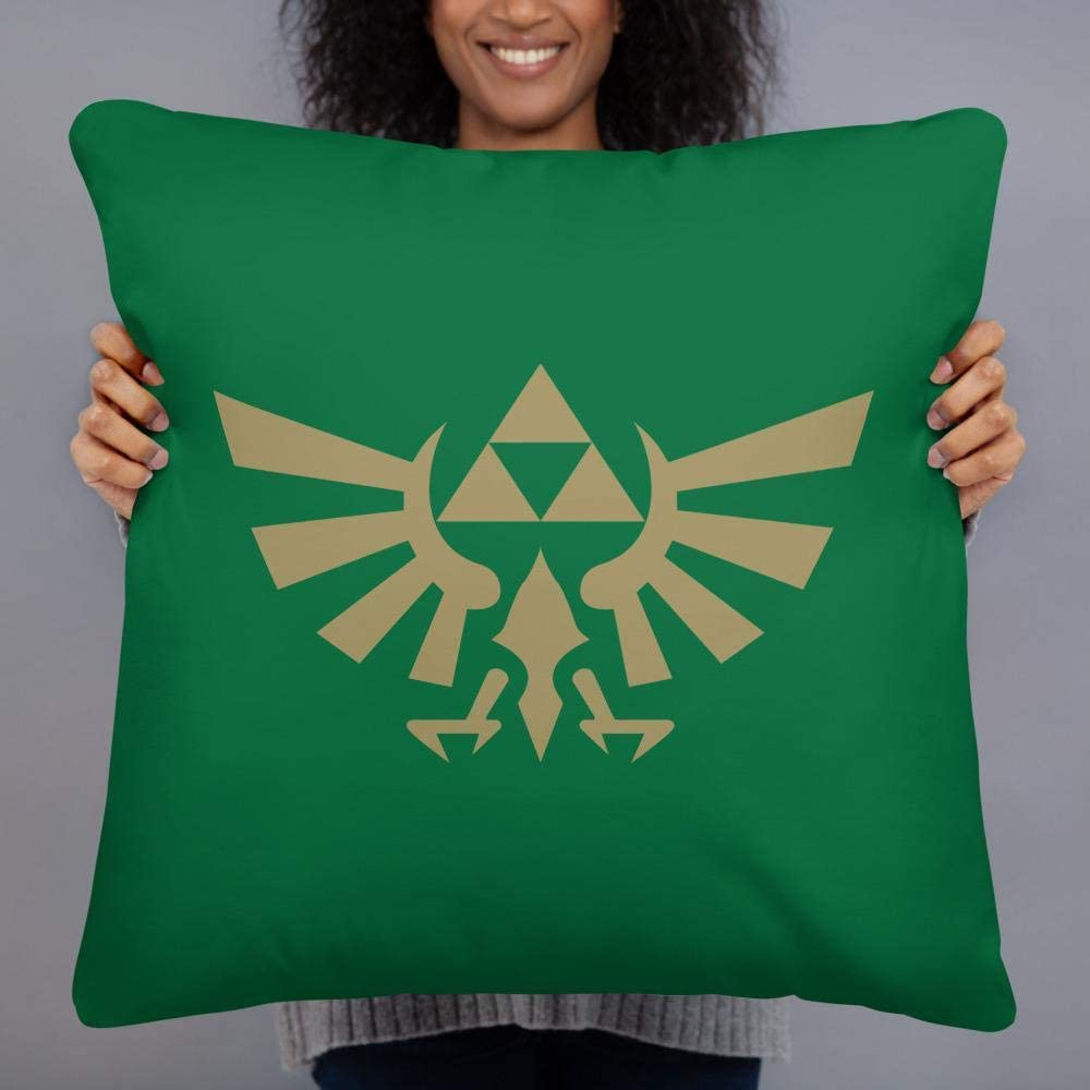 Games of Future Past Novelty Decorative Throw Pillow for Video Gamers, Playstation, Star Wars Mandalorian Baby Yoda Fans, Soft & Comfortable Cushion for Sofa, Bed (22x22, The Zelda Hylian Crest)