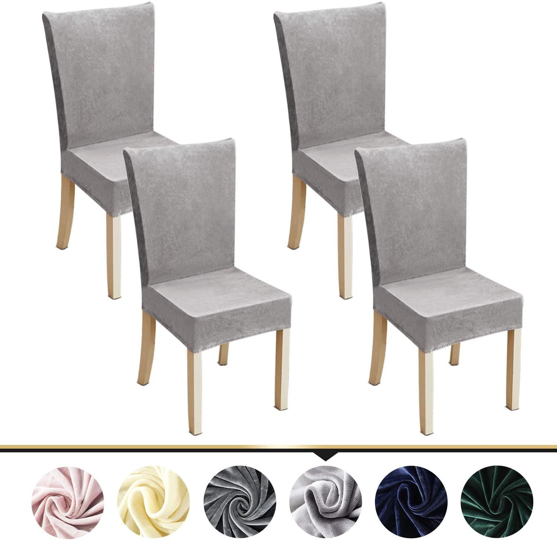 ZC MALL Stretch Velvet Dining Chair Slipcover,Spandex Fabric Stretch Dining Room Chair Slipcovers Set of 4,Light Gray