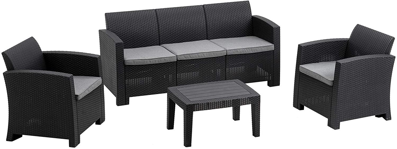 MCombo 6pcs Patio Furniture Set All-Weather Outdoor Sectional Sofa Rattan Pattern Patio Conversation Set w/Seat Cushions 6050-800 (Grey)