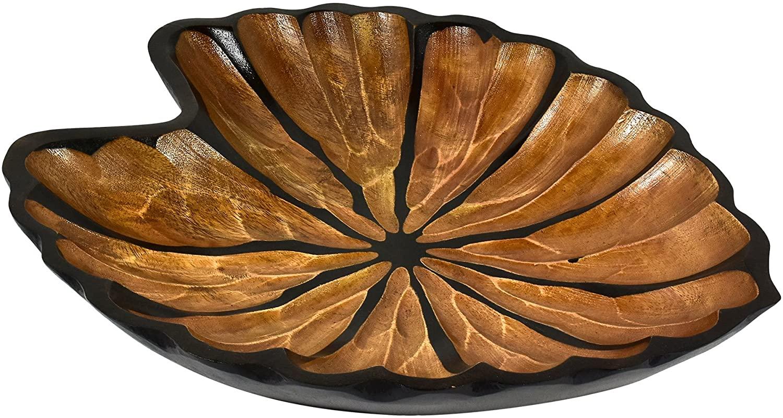 AeraVida Fancy Caladium Leaf Mango Wood Plate/Tray