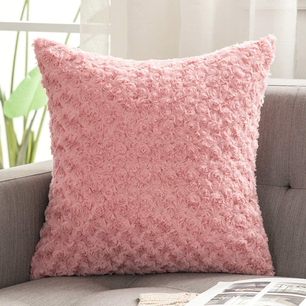 MIULEE Decorative Throw Pillow Covers Luxury Faux Fuzzy Fur Super Soft Cushion Pillow Case Decor Rose Pink Cases for Couch Sofa Bedroom Car 20 x 20 Inch 50 x 50 cm