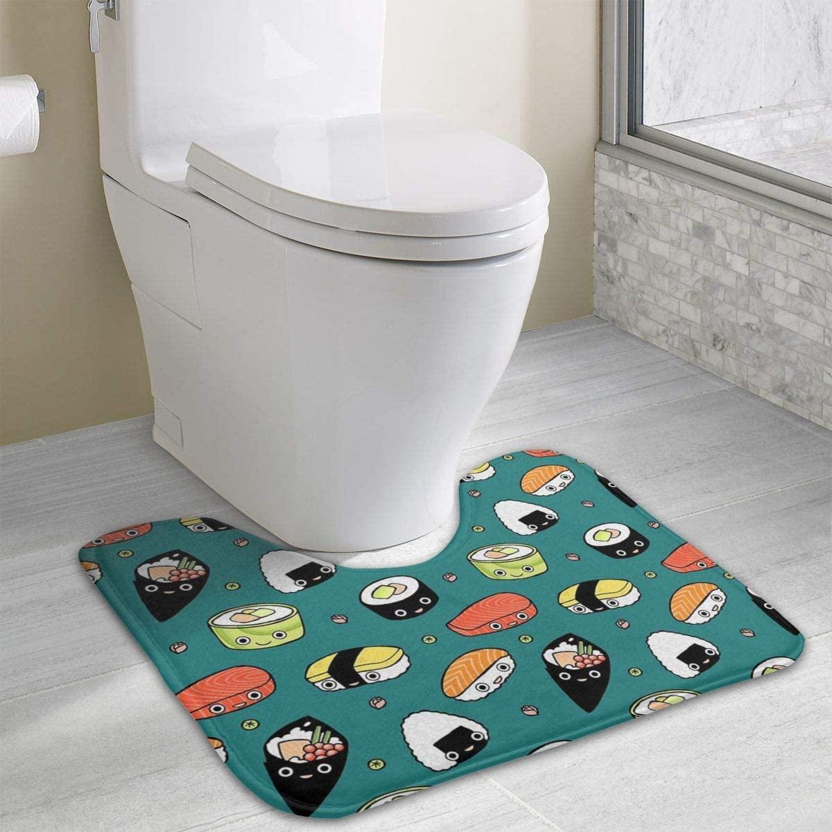 NiYoung Non Skid Memory Foam Toilet Contour Mat Floor Pad Rugs Japan Sushi Kawaii Home Decor Shaggy Rugs Indoor & Outdoor Entrance Rug, Machine-Washable/Quick Dry Doormat